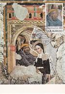 Carte Maximum  Peinture San Marin 1980 San Benedetto E La Sorella Fresque - Lettres & Documents