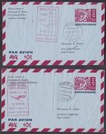 Km_ Japan - 2 Erstflugbelege 1963 - Tokyo - Kuwait + Tokyo - New Delhi - Interi Postali