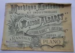 Catalogue 189x  Machines Agricoles ALBARET PLANO Succr Moissonneuse Faucheuse - Usine à Rantigny - 9 Rue Du Louvre Paris - Agriculture