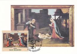 Carte Maximum  Peinture San Marin 1989 Chiesa Dei Servi Di MAria - Lettres & Documents