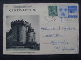 18672- Carte Lettre Ile De France, Château De Rambouillet, Vue En Noir, Pas Courant En Obl, Au Tarif, TBE - Cartes-lettres