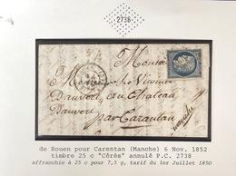 1852 Lettre De Rouen Pour Carentan Manche - 1849-1876: Période Classique