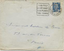 LETTRE OBLITERATION DAGUIN - VISITEZ SAINT - CAST - BOIS -PLAGES GOLF -TENNIS - 1951 - Marcophilie (Lettres)