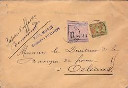"""N° 96 S / Env Recommandé Manuscrit """" Papiers D' Affaires """" T.P. Ob Tad Pithiviers 12 Sept 01, Env Pour Orléans - Marcophilie (Lettres)"""