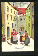AK Frauen Beim Hofklatsch - Humor
