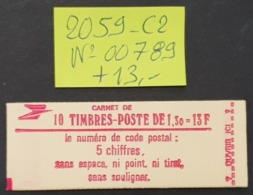 Carnet N° 2059-C2 Avec N° 00789  Neuf **  TTB - Booklets
