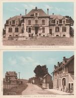 """2 CPA COULEUR:FEUCHY (62) """"J.DREUX"""" RUE DE LA CITÉ DE LA SOURCE,MONUMENT AUX MORTS MAIRIE - France"""