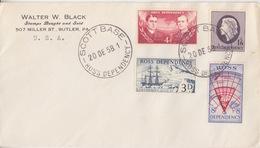 Polaire Néozélandais, N° 1 à 4 Obl. Scott-Base Le 20 DE 58 Sur Lettre à Entête Walter W. Black USA - Dépendance De Ross (Nouvelle Zélande)