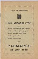 GEMBLOUX  Palmares 1948 - Programmes