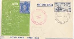 Polaire Néozélandais, N° 1 Obl. Scott-Base Le 16 DE 59 Sur Env Illustrée Trail De Byrd + Cachet Programme 1960 - Dépendance De Ross (Nouvelle Zélande)