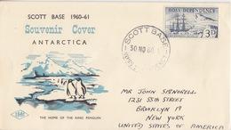 Polaire Néozélandais, N° 1 Obl. Scott-Base Le 30 NO 60 Sur Env Illustrée Scott Base 1960-61 - Dépendance De Ross (Nouvelle Zélande)