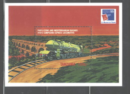 """TANZANIA 1999 """"TRAINS"""" MS   #1909   MNH - Tanzania (1964-...)"""