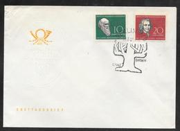 Germany DDR - 1958 Darwin / Linne Set On FDC - Pictorial Postmark - Covers & Documents