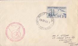 Polaire Néozélandais, N° 1 Obl. Scott-Base Le 19 OC 63 Sur Lettre Pour L'Angleterre + Cachet Antarctic Research - Dépendance De Ross (Nouvelle Zélande)