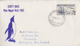 Polaire Néozélandais, N° 1 Obl. Scott-Base Vice-Regal-Visit 1963 Le 8 NO 63 Sur Lettre Illustrée Vice Regal Visit - Dépendance De Ross (Nouvelle Zélande)