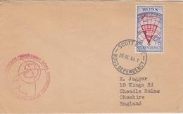Polaire Néozélandais, N° 3 Obl. Scott-Base Le 26 OC 64 Sur Lettre Pour L'Angleterre + Cachet Research-Programme - Dépendance De Ross (Nouvelle Zélande)