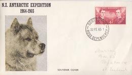 Polaire Néozélandais, N° 2 Obl. Scott-Base Le 22 FE 65 Sur Lettre Illustrée N.Z. Antarctic Expédition 1964-1965 (chien) - Dépendance De Ross (Nouvelle Zélande)