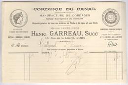 Facture Corderie Du Canal - 46 Rue De La Liberté , Dijon - Février 1909 - France
