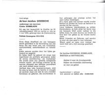 J.DOOSSCHE °KNOKKE 1892  +1976 (C.DOBBELAERE) - Devotion Images