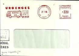 Lettre  EMA  Havas P 1986  SAMU Urgence  Hopital Santé Medecine 08 Charleville Mezieres  C23/21 - Poststempel (Briefe)