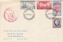 Polaire Néozélandais, N° 1 à 4 Obl. Scott-Base Le 16 FE 66 Sur Env Avec Coordonnées+ Cachet Antarctic Research Programme - Dépendance De Ross (Nouvelle Zélande)