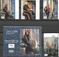 JORDAN, 2019, MNH, EUROMED, COSTUMES OF THE MEDITERRANEAN, 4v+S/SHEET - Costumes
