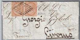 Letterina Con Testo, Da Valmontone A Livorn Affrancata Con 2 Francobolli Da 10 Cent./Torino (05424) - 1861-78 Vittorio Emanuele II