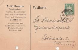 Deutsches Reich Firmenkarte A. Rullmann Eisenhandlung Osnabrück 1924 - Covers & Documents