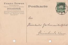 Deutsches Reich Firmenkarte Franz Tewes Eisenwaren Osnabrück 1924 - Deutschland