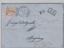 Lettera Con Testo, Da Fignano Olona A Magliaso/Svizzera Affrancata Con 1 Francobollo Da 10 Cent./Torino (05425) - 1861-78 Vittorio Emanuele II
