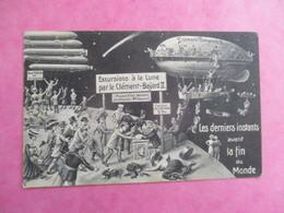 CPA ILLUSTREE HUMORISTIQUE LES DERNIERS INSTANTS AVANT LA FIN DU MONDE SOUVENIR 19 MAI 1910 DIRIGEABLE CLÉMENT BAYARD - 1900-1949