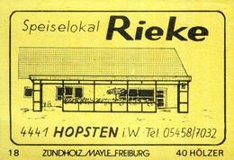 1 Altes Gasthausetikett, Speiselokal Rieke, 4441 Hopsten I. W. #684 - Boites D'allumettes - Etiquettes