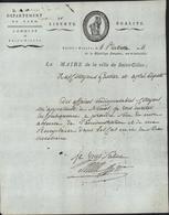 Lettre Avec Belle Entête Révolutionnaire Révolution Française Département Gard Saint Gilles Pr Adjoint 6 Pluviose An 11 - Postmark Collection (Covers)