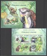 WW485 2013 S. TOME E PRINCIPE FAUNA AFRICANA WILD ANIMALS MACACO-MONA KB+BL MNH - Apen