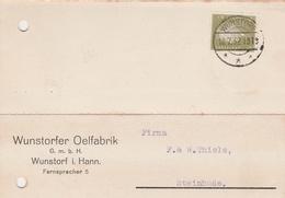 Deutsches Reich Firmenkarte Wunstorfer Oelfabrik GmbH Wunstorf Hannover 1932 - Deutschland