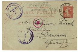 FRANCE 1918:  CP Entier De 10c. Avec Obl. CAD Allemand De Strasbourg Et Cachets De Censure Allemands - Guerre