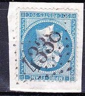 France-Yv 22, GC 4338 Wasselonne (67) Sur Fragment - Marcophilie (Timbres Détachés)