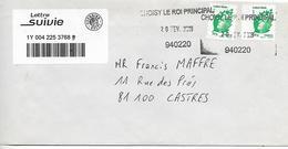 2019- Rare LETTRE  SUIVIE Avec Code Barre  Affranchie Avec 2 Timbres Vert + Marque CHOISY LE ROI PRINCIPAL Voir Scan - 1961-....