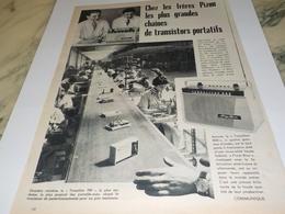ANCIENNE  PUBLICITE TRANSISTOR PORTATIF  FRERE PIZON  1960 - Non Classés