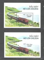 """VIETNAM 2001 """"TRAINS""""  M. S. Imperf + Perf. M.S.  #3069  MNH - Vietnam"""