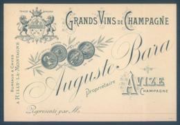 Carte De Visite Auguste Bara Grands Vins De Champagne 51 RILLY La MONTAGNE 8 X 12 Cm - Visiting Cards
