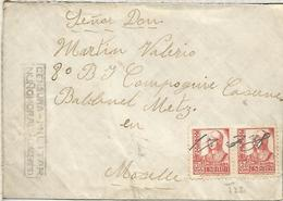 GUERRA CIVIL CC A FRANCIA 1938 CON LLEGADA MAT ESCRITO Y MUY RARA CENSURA DE NUÑOMORAL CACERES - 1931-50 Brieven