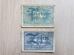 2 Banknoten - 5 Und 10 Pfennig Bank Deutscher Länder Von 1948 - [ 5] 1945-1949 : Bezetting Door De Geallieerden
