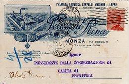 MONZA E BRIANZA - MONZA - PELIZZONI & RIVA - FABBRICA CAPPELLI MERINOS E LEPRE - N 013 - Monza