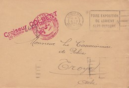 Cachet Croiseur Colbert 1935 Sur Pli De Lorient Morbihan - Cachets Militaires A Partir De 1900 (hors Guerres)