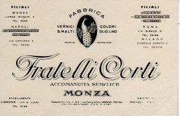 MONZA E BRIANZA - MONZA - FRATELLI CORTI - FABBRICA VERNICI - COLORI - SMALTI - N 015 - Monza