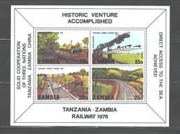 """ZAMBIA  1976 """"TRAINS"""" MS #166 MNH - Zambia (1965-...)"""