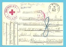 Kriegsgefangenenpost Met CROIX-ROUGE De BELOEIL + Stalag Gepruft  - MONS 15/4/1941 - Weltkrieg 1939-45