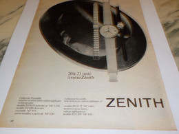 ANCIENNE PUBLICITE 20H23 JUSTE ZENITH 1960 - Jewels & Clocks