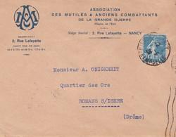 Pli Association Des Mutilés Et Anciens Combattants De La Grande Guerre Pour Romans Isere 1926 - 1877-1920: Semi-moderne Periode